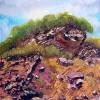 Landschaft, Spachteltechnik, Ölmalerei, Steinbruch