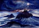 Dunkel, Nacht, Grafik, Aquarellmalerei