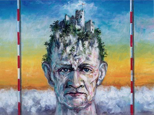 Burg, Malerei, Surreal, Kopf, Skurril