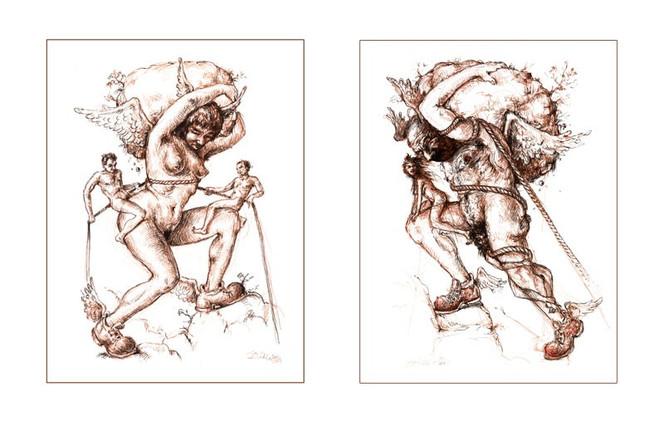 Gipfelstürmer, Figur, Stein, Welt, Zeichnung, Skurril