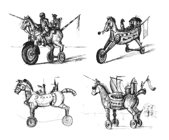 Trojanisch, Skurril, Figur, Traum, Pferde, Malerei
