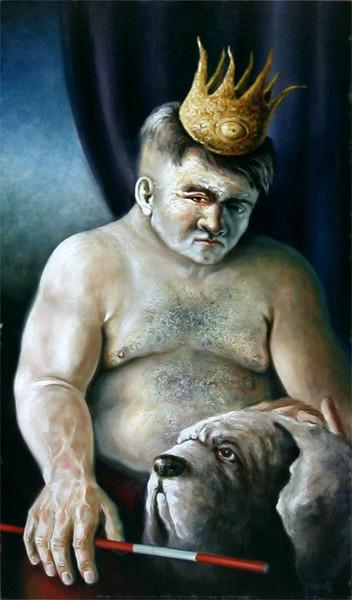 Malerei, Figural, König, Figur, Skurril, Hund