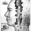 Bleistiftzeichnung, Kopf, Kopfwelten, Zeichnung
