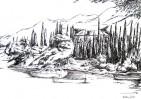 Landschaft, Bucht, Tuschmalerei, Hafen