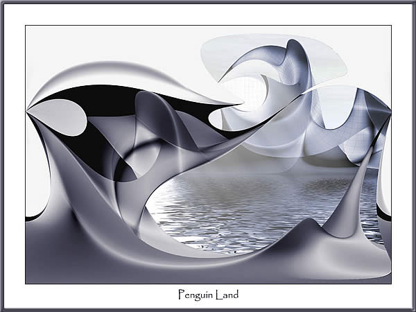 Pinguin, Land, Digital, Abstrakt, Digitale kunst,