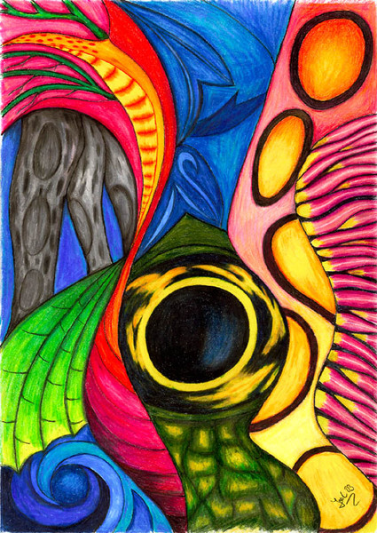 Surreal, Buntstiftzeichnung, Polychromos, Akt, Zeichnung, Zeichnungen