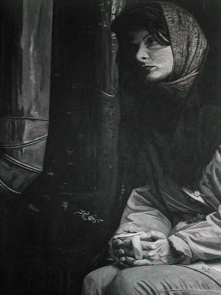 Figural, Schwarz weiß, Malerei, Acrylmalerei, Teil