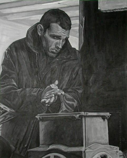 Schwarz weiß, Figural, Malerei, Acrylmalerei, Teil