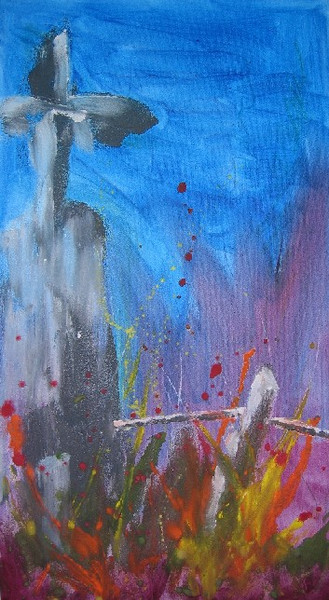 Kreuz, Abstrakt, Grenze, Malerei