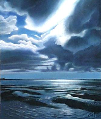 Watt, Sturm, Wolken, Malerei, Sand, Landschaft