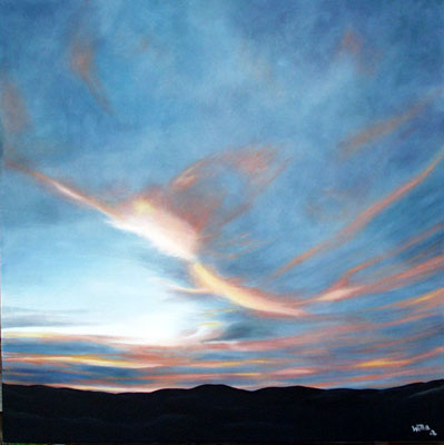 Landschaft, Malerei, Himmel, Abend, Wolken, Sonne