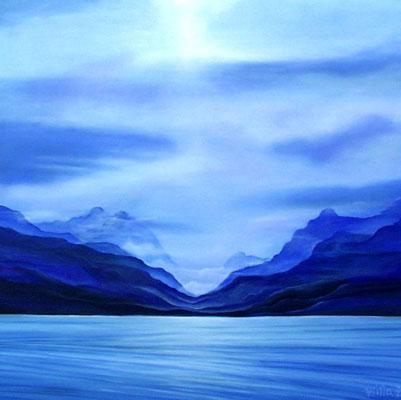 Eis, Malerei, Winter, Berge, Blau, Landschaft