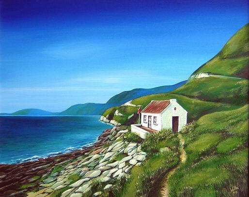 Haus am Meer Landschaft Malerei Haus Meer von Wiltrud