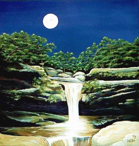 Stein, Wasserfall, Mond, Nacht, Himmel, Wasser