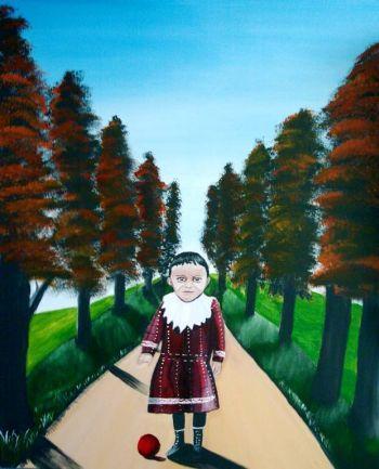 Malerei, Figural, Kind, Baum, Herbst, Menschen