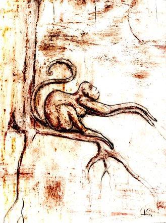 Affe, Baum, Skizze, Zeichnung, Zeichnungen