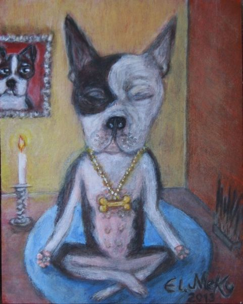 Boston terrier, Gemälde, Awesome, Putzig, Meditation, Hund