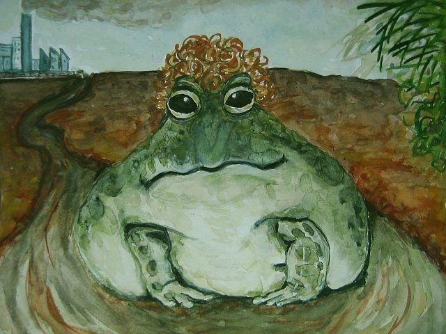 Lockenfrosch Tümpel Berlin Frosch Aquarellmalerei Von El Meky