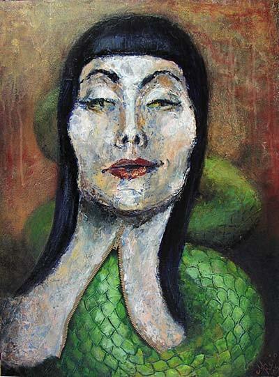 Portrait, Figural, Frau, Malerei, Schlange, Expressionismus