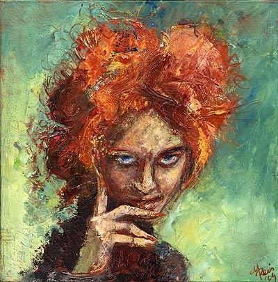 Malerei, Portrait, Figural, Hexe, Frau