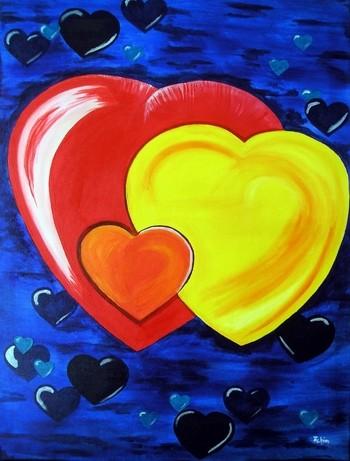 Herz, Blau, Gelb, Orange, Rot, Malerei