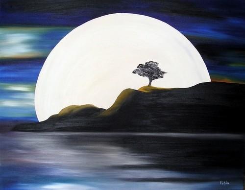 Landschaft, Spiegelung, Mond, Malerei, Wasser, Baum