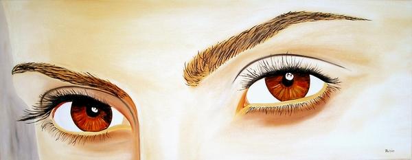 Schau, Augenpaar, Malerei, Blick, Augen,