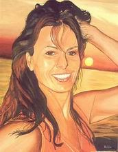 Sonnenuntergang, Urlaub, Frau, Malerei, Portrait, Figural