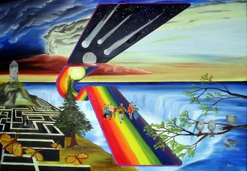 Schmetterling, Dachspatzen, Surreal, Regenbogen, Meteor, Malerei