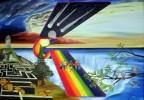 Dachspatzen, Regenbogen, Surreal, Meteor