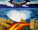 Malerei, Wasser, Trümmer, Säule