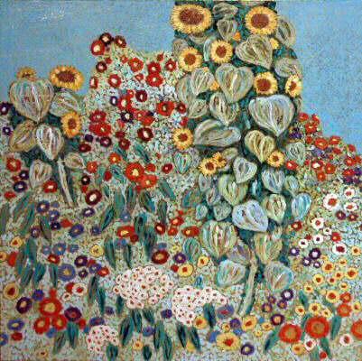replik von bauerngarten mit sonnenblumen von gustav klimt landschaft blumen malerei. Black Bedroom Furniture Sets. Home Design Ideas