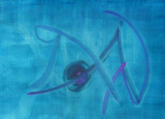 Malerei, Blau, Horn,