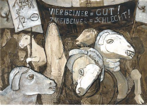 Orwell, Tierbuch, Bauernhof, Tiere, Zeichnungen