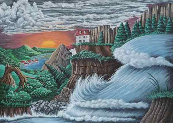 Natur, Chaos, Landschaft, Flut, Kraft, Acrylmalerei