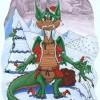 Weihnachten, Drache, Fantasie, Grafik
