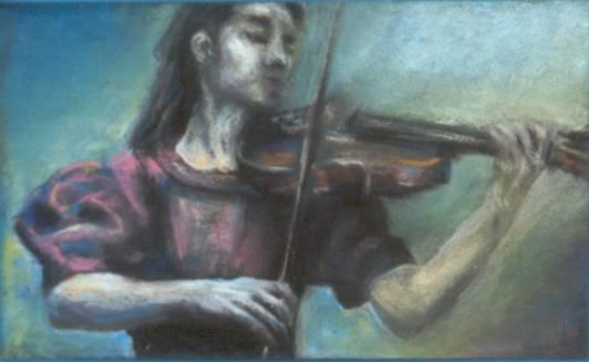 Musik, Geige, Pastellmalerei, Zeichnung, Zeichnungen