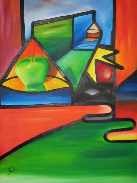 Malerei, Apfel, Bunt, Abstrakt