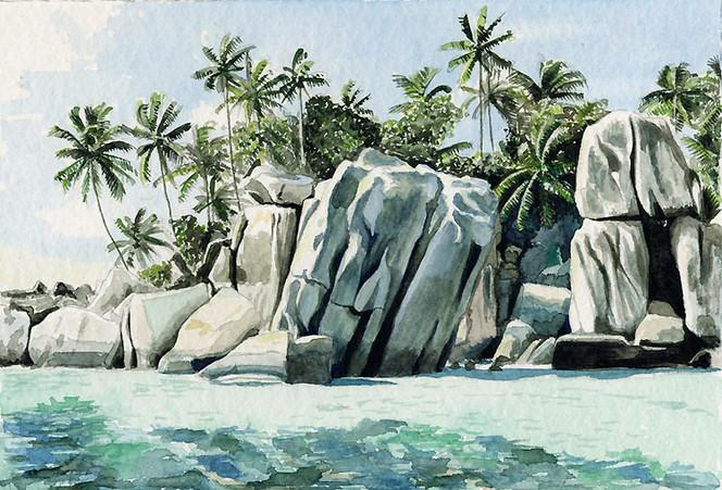 Grafik, Aquarellmalerei, Aquarell, Riff, Island