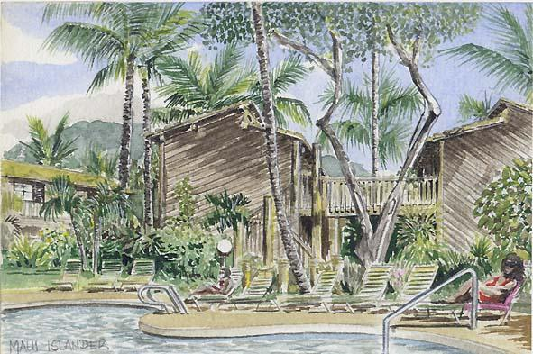 Grafik, Hawaii, Palmen, Becken, Grün, Aquarellmalerei