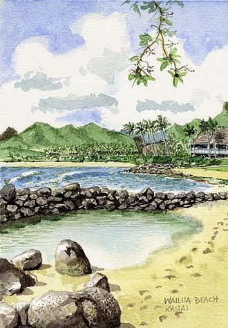 Berge, Meer, Hawaii, Palmen, Aquarellmalerei, Strand
