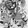 Südsee, Melanesien, Zeichnung, Ureinwohner