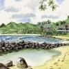 Meer, Hawaii, Palmen, Aquarellmalerei