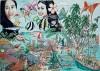 Palmen, Grafik, Fische, Korallen