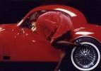 Mädchen, Jaguar, Lippenstift, Auto