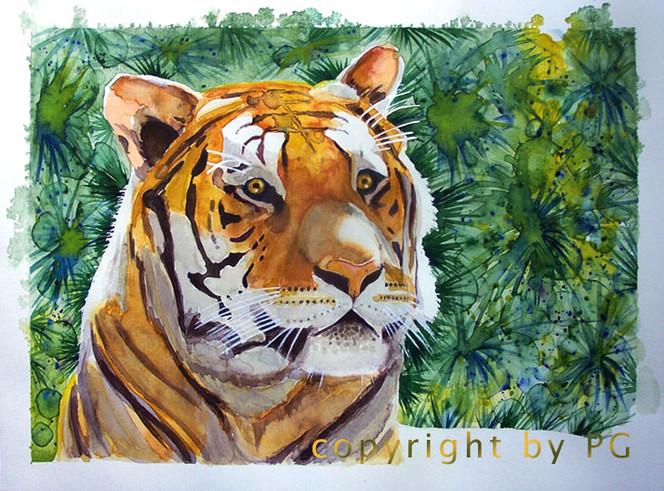 Urwald, Aquarellmalerei, Grafik, Tiger, Aquarell, Tiere