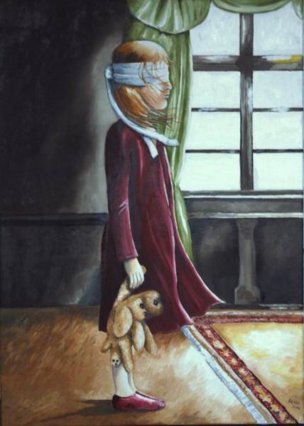 Surreal, Malerei, Kind, Kuscheltier, Fenster, Licht
