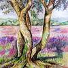 Lila, Aquarellmalerei, Heide, Landschaft