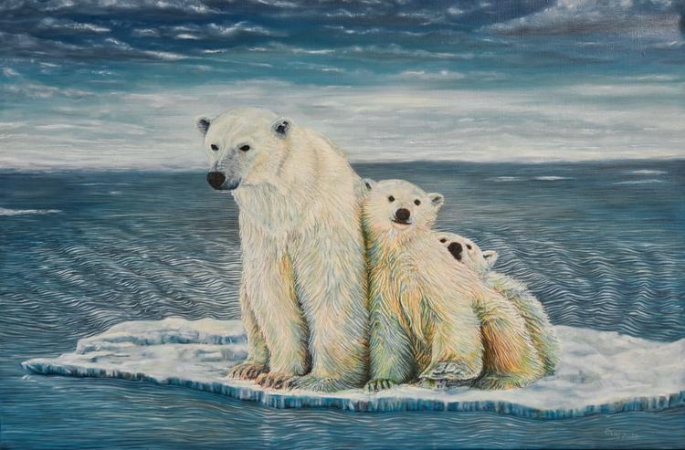 Eisbär, Arktis, Tierportrait, Tiere, Bär, Malerei
