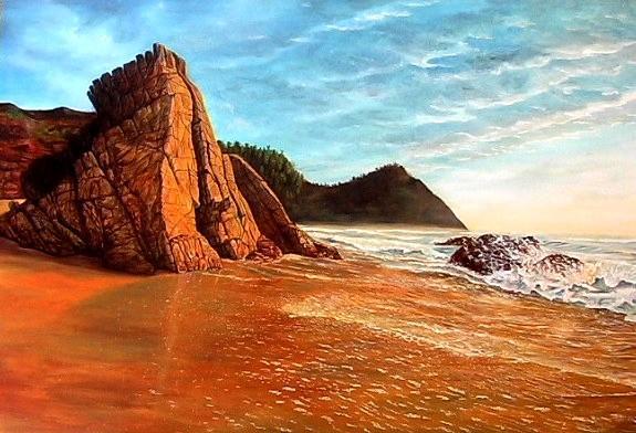 Felsen, Wasser, Berge, Himmel, Ozean, Malerei